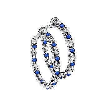 1.00 Carat Diamond & Sapphire Hoop Earrings White Gold