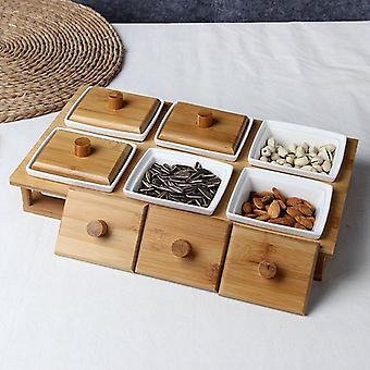Boîtes de stockage en bambou de condiment