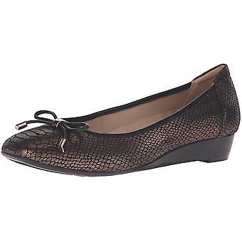 Naturalizer Womens Dove Leather Square Toe Slide Flats