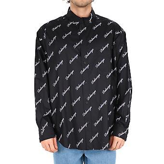 Balenciaga 647363tjly71070 Mænd's sort bomuldsskjorte