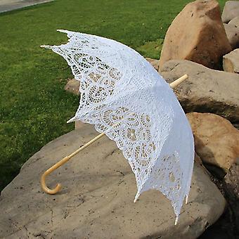 Cotton Sun Batten Victorian Lace Parasol Umbrella Hook Handle Parasol Wedding