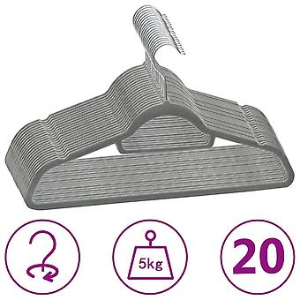 vidaXL 20 pcs. hanger set anti-slip grey velvet