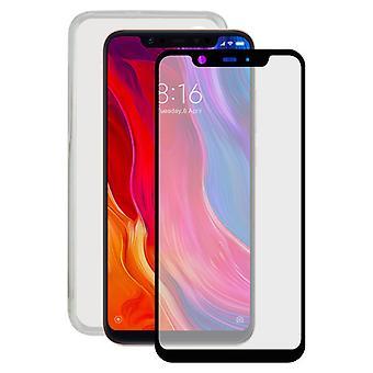Härdat glas Mobil skärmskydd + Mobilt fodral Xiaomi Mi 8 Kontakt