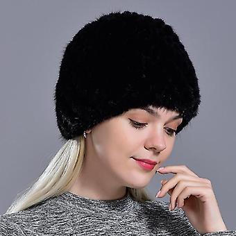 Natural Real Fur Knitted Cap