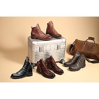 كبير الحجم 39-47 الشتاء مع أحذية الفراء، الرجال الجلدية & apos; ق الأحذية الشتوية، الكاحل المطاطي
