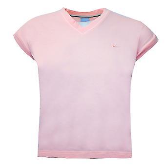 Nike Womens V Neck Crop Top Casual Logo T-Shirt Peach 294208 607