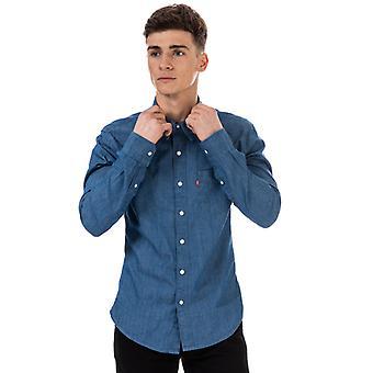 Mænd's Levis Sunset 1 Pocket Slim Shirt i blå