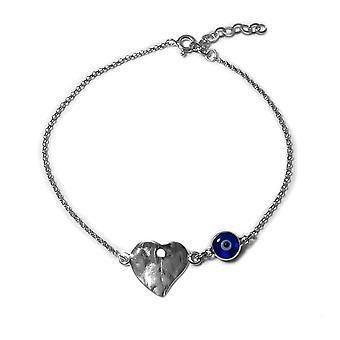 "Hammered Heart Double Sided Evil Eye Adjustable Bracelet Sterling Silver, 7"" to 8.5"""