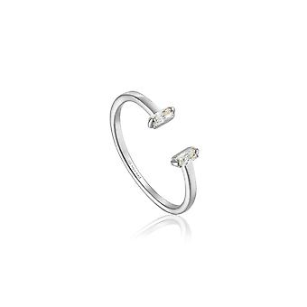 Ania haie Sterling sølv Rhodium belagt glød justerbar ring R018-04H