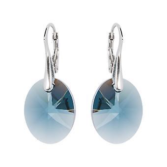 Oorbellen conoció a Swarovski Kristallen Oval Montana Blauw - Zilver