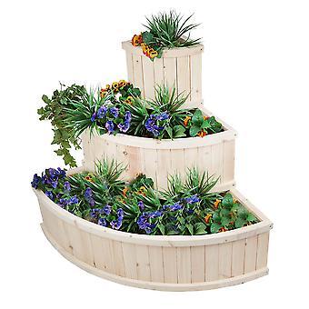 Cascade Tiered Wooden Flower Vegetable Planter Box Timber Outdoor Herb Garden