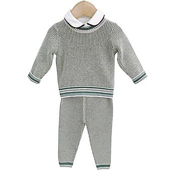 Baby Knitted Clothes Set - Knit Pullover + Pants