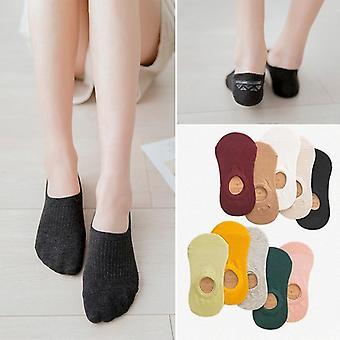 Women's Pamuk Görünmez Kaymaz Yaz Şekeri Düz Renkli Silikon Kısa Çorap
