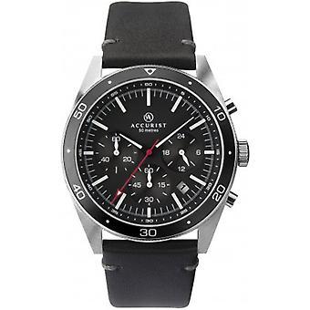 Accurist 7273 Stříbrné a černé kožené pánské hodinky