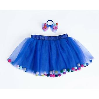 Blue Pom Pom Tutu och Bow Hair Tie | 2st Set