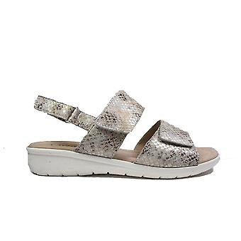 Caprice 28650-255 Grey Snake Print Leather Womens Rip Tape Sling Back Sandals