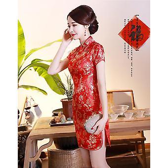 Klassische Hand Made Button Frauen Sexy schlanke High Slit Mini Kleid Exquisite Drachen