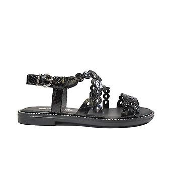 Remonte D3660-01 Black Leather Womens Sling Back Sandals