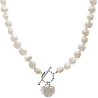 Pearls of the Orient Amare Single Strand Freshwater Pearl Heart Necklace - White