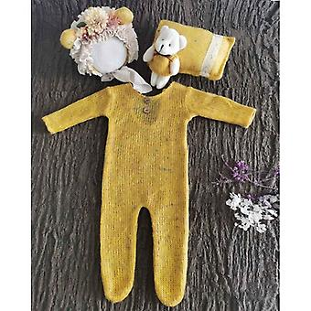 Baby Clothes Newborn Photography Props, Romper Jumpsuit, Hat Pillow Set With