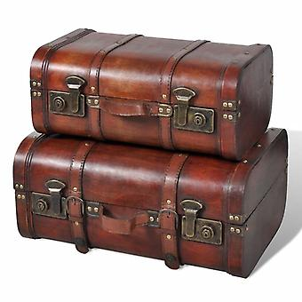 vidaXL decorative case made of wood 2 pcs. Retro-style brown