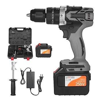 21V 6.0A Cordless Drill Driver Batteries Max Torque 200N.m 1/2 Inch Metal Keyless Chuck 20+3 Position 0-1550RMP Variable Speed Impact Hammer Drill Screwdriver With PlasticTool Box