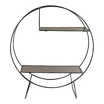 Silver Metal Freestanding Shelving Unit With Mirrored Shelves