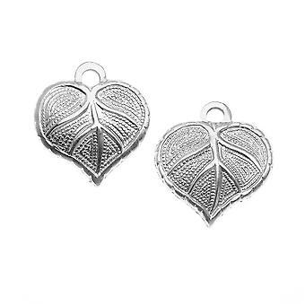 Vintaj Artisan Pewter - Teensie Nouveau Leaf Stamping Charm 12x13mm (2)