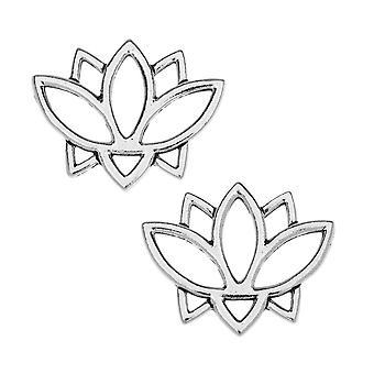 TierraCast Pewter Liittimen linkit, Avoin Lotus Kukka Design 19x23.5mm, 2 Kpl, Antiikki hopea päällystetty