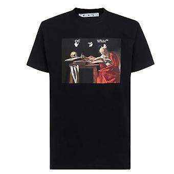 Off White Caravaggio Canvas Zwart T-Shirt