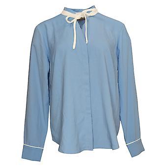 Elizabeth & Clarke Women's Tunic StainTech Tie Collar Blue A353170
