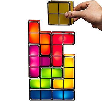 Diy színes egymásra rakható Tangram rejtvények Tetris Night Light
