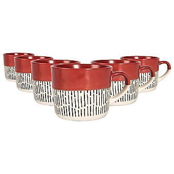 6x Ceramic Dippped Dash Coffee Mugs Estampado Tazas de Té de Colores 475ml Rojo