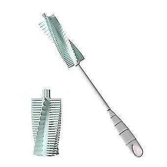 Blue baby bottle brush scrubber longbottle brush with rubber grip handle x1661