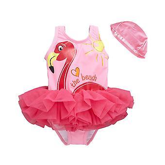 ملابس السباحة للفتيات الصيف مع قبعة السباحة، ومناسبة للفتيات الذين تتراوح أعمارهم بين 1-8