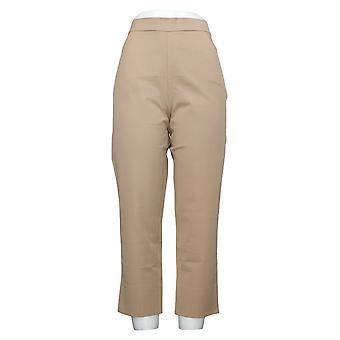 Isaac Mizrahi Live! Women's Pants Stretch Crop Back Slit Hem Brown A351754