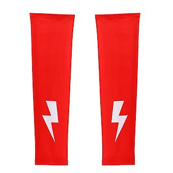 Summer outdoor sunscreen ice silk sleeves, cycling sports arm sleeves(Red)