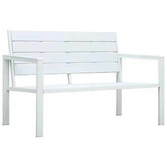 vidaXL حديقة مقاعد البدلاء 120 سم HDPE الخشب الأبيض نظرة