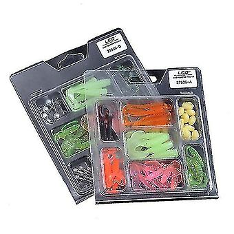 52Pcs Fishing Lures Lead Hooks Soft Bait Set Bass Lure Tackle(type A)