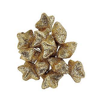12 estrelas de glitter de ouro com fio para coroas de natal e floricultura