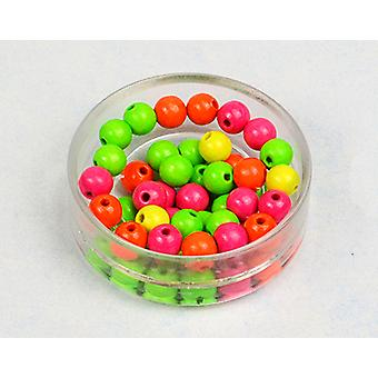 LAST FEW - 8mm Assorted Neon Wooden Threading Beads Adults Crafts - 45pk