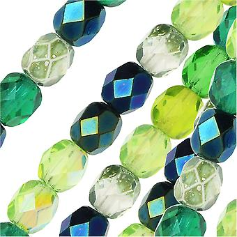 Czech Fire Polished Glass Beads, Faceted Round 6mm, 25 Pieces, Evergreen Mix
