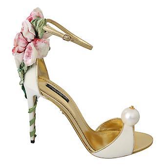 اللؤلؤ الأبيض المخملية أحذية الصنادل الجلدية الذهب