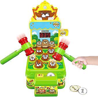 Whack Spel, Interaktiv Pedagogiska Småbarn Barn med mynt och 2 Hammers Mini Arcade Spel Leksak för pojkar och flickor Ålder 3-6