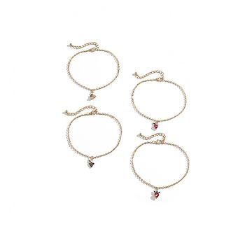 A042 Jewelry Female Simple Geometric Anklet Multi-element Fruit Anklet Set Ankle Bracelet Initial Anklets