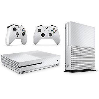 GNG Xbox One S Carbon White Console Skin Decal Sticker  + 2 Controller Skins