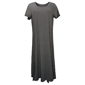 Cuddl Duds Petite Dress Petite Short-Sleeve Maxi Gray A373537