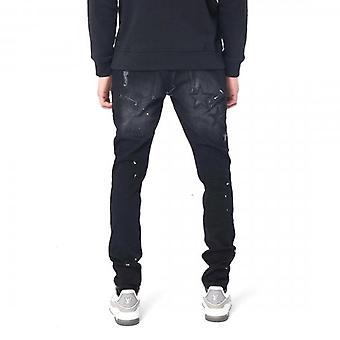 Amicci Piatto Skinny Fit Stretch Black Denim With Stars Jeans