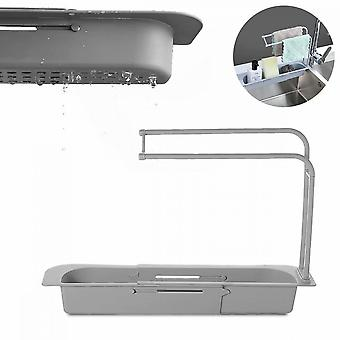 2 Pieces Of Retractable Storage Racks For Kitchen And Bathroom Sinks (gray)