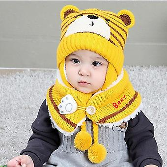 Yellow Cute Baby Boy And Girl Warm Knitted Animal Hat And Scarf For Toddlers Winter Crochet Beanie Set